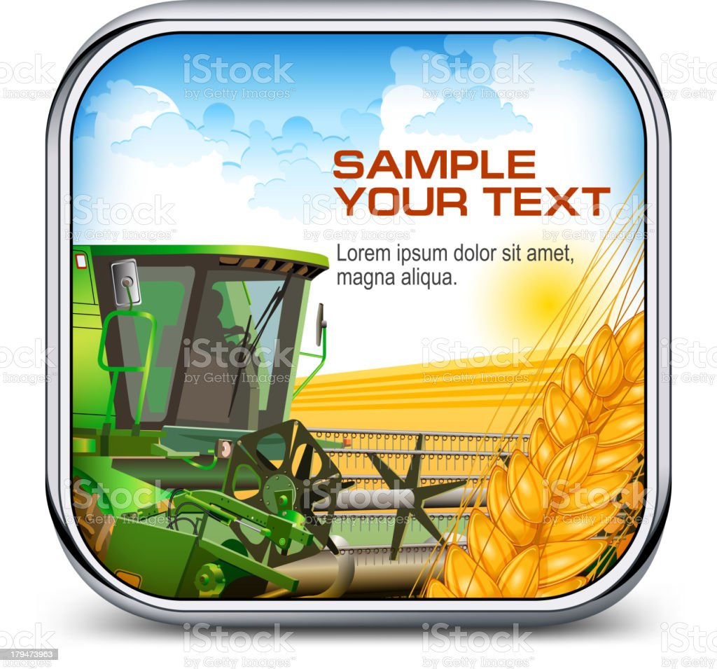 Icon with ear wheat & harvester royalty-free stock vector art