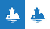 Falkirk Castle, Scotland. Icon with European Medieval Castle in colors of Scottish National Flag. Nice vector illustration exposing the theme of European antiquity and History.
