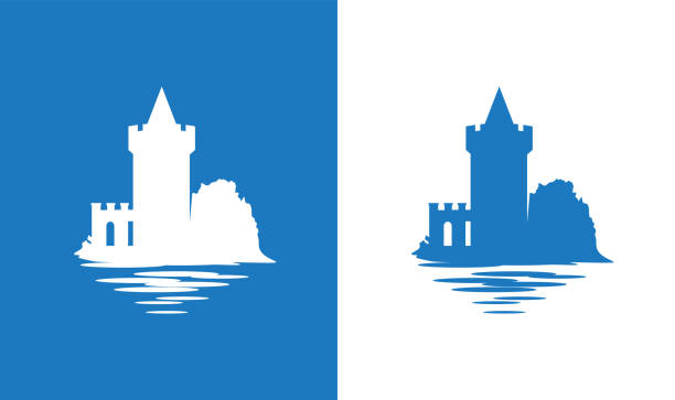 ilustrações de stock, clip art, desenhos animados e ícones de icon with european medieval falkirk castle in colors of scottish national flag - castle