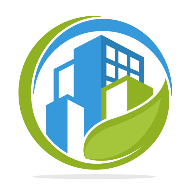 Icon  with green city management concept Icon  with green city management concept corporate responsibility stock illustrations