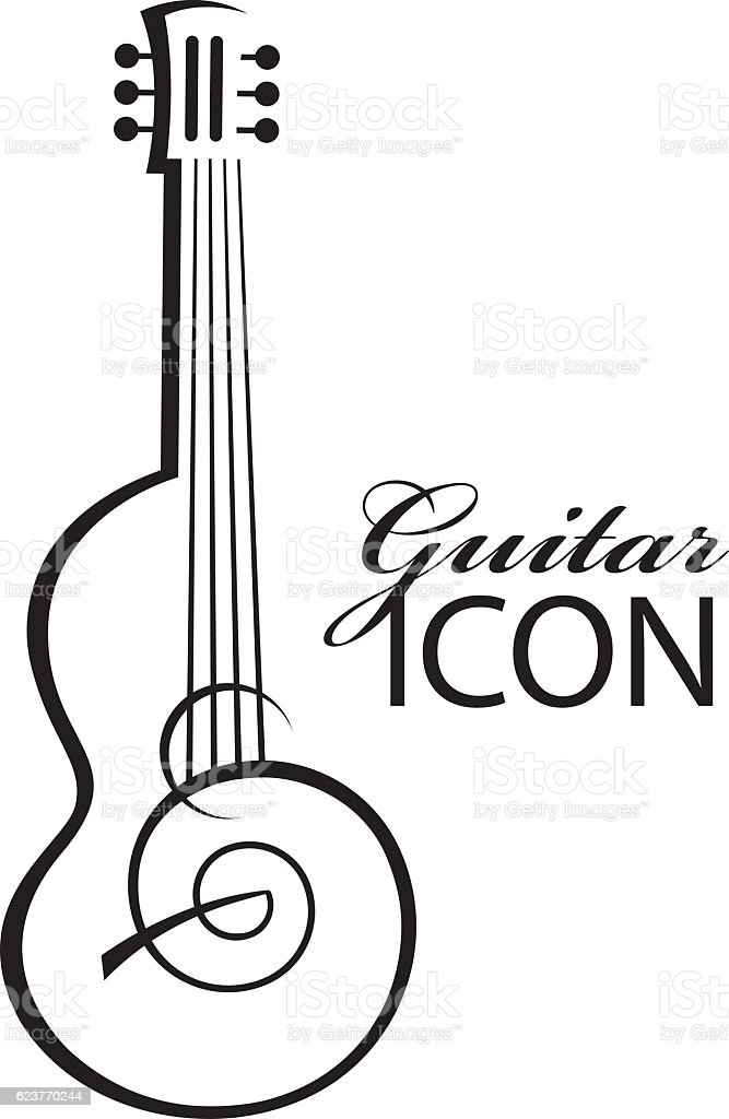icon with guitar vector art illustration
