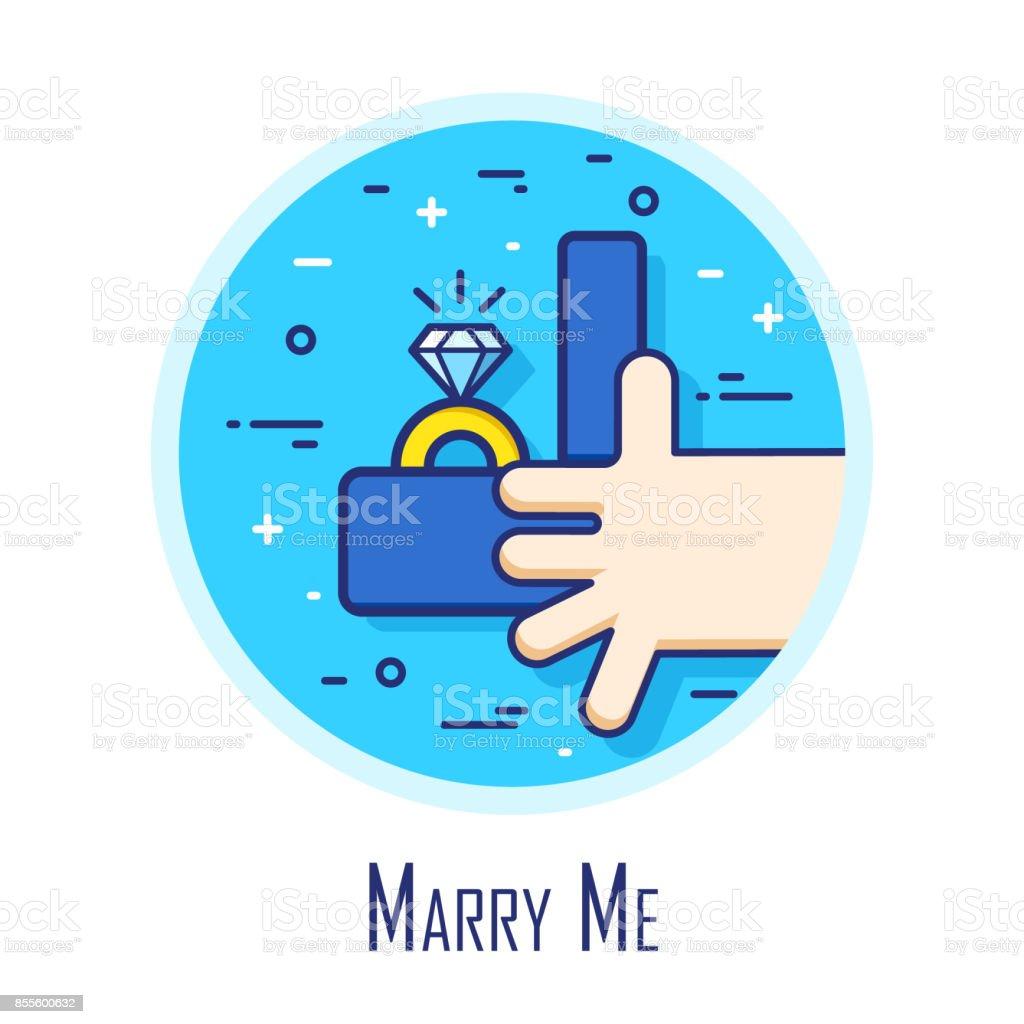 Symbol Mit Hand Box Mit Und Verlobungsring Dunne Linie Flache Design