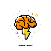 Icon with human brain and lightning for brainstorming techniques to generate creative ideas. Flat filled outline style. Pixel perfect 64x64. Editable stroke
