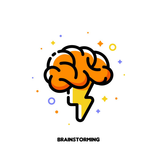 Icon with human brain and lightning for brainstorming techniques to generate creative ideas. Flat filled outline style. Pixel perfect 64x64. Editable stroke Icon with human brain and lightning for brainstorming techniques to generate creative ideas. Flat filled outline style. Pixel perfect 64x64. Editable stroke brain stock illustrations