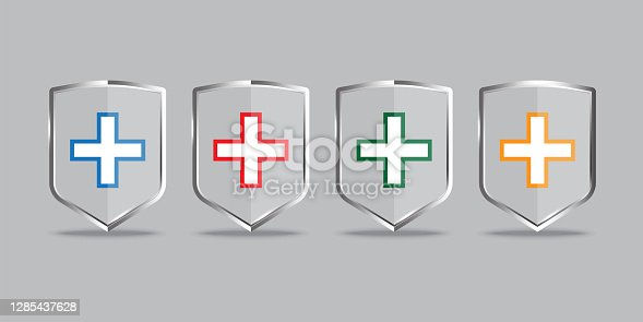 Icon with medical shields. Healthcare concept. Immune system icon. Protection symbol. Stock image. EPS10.