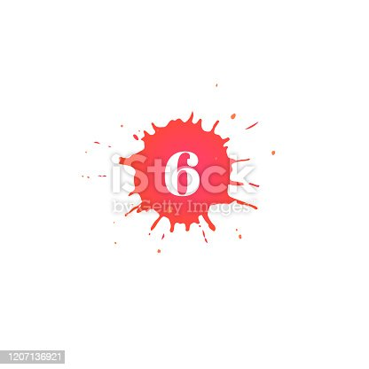 istock Icon with number. Hand drawn paint spot. 1207136921