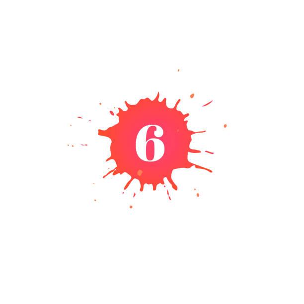 illustrations, cliparts, dessins animés et icônes de icône avec le nombre. tache de peinture dessinée à la main. - nuage 6