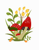 Icon with red fly agaric. Forest poisonous mushrooms in the grass with a caterpillar and berries. Postcard for logos, scrapbooking and decor. Vector illustration.