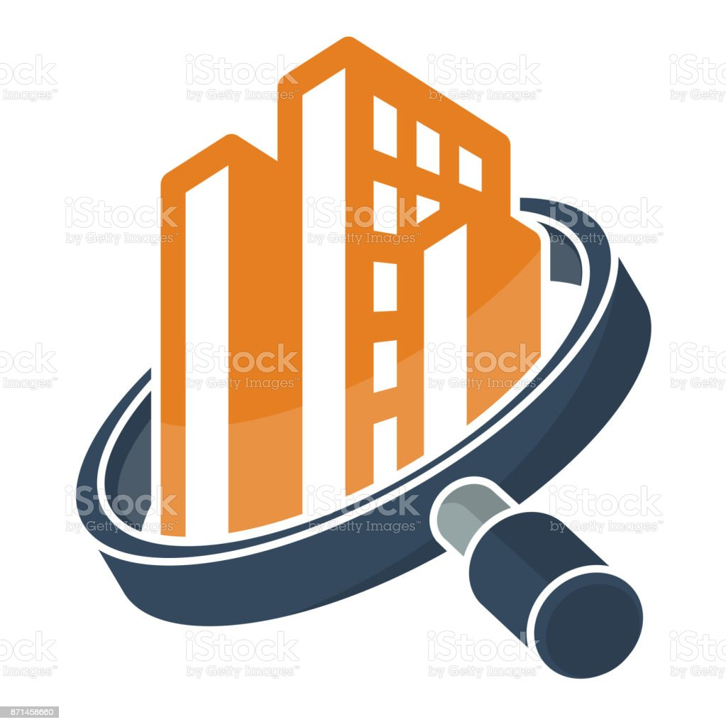 icon with search / review / inspection concept, for real estate / building inspector business, illustrated with magnifying glass and building vector art illustration
