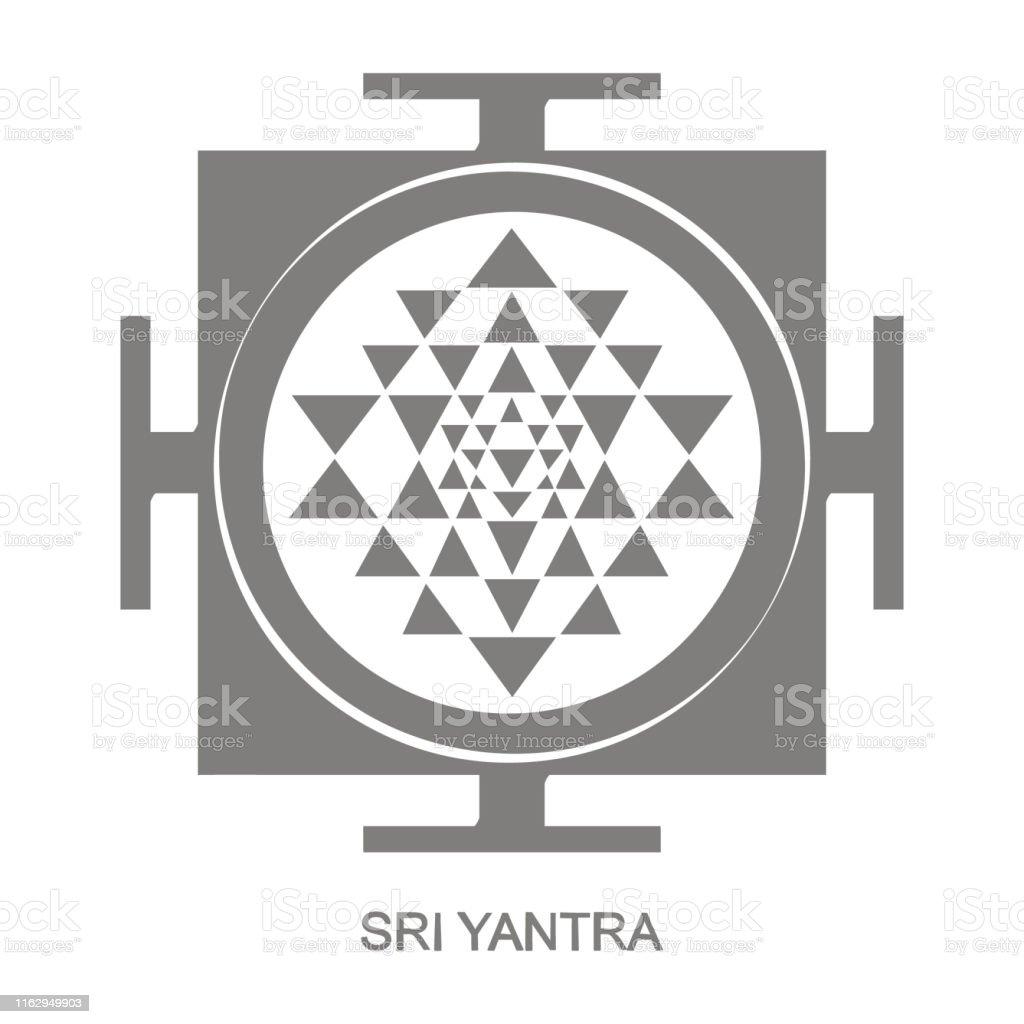 Icon With Sri Yantra Hinduism Symbol Stock Illustration