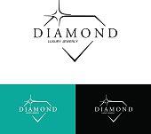 Icon with Stylized Diamond. Vector logo design.