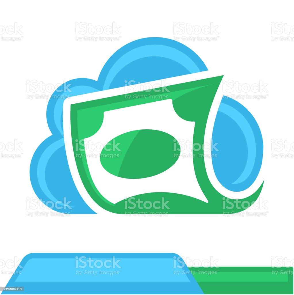 icono con el concepto de computación en nube para servicios financieros, banca en línea - ilustración de arte vectorial