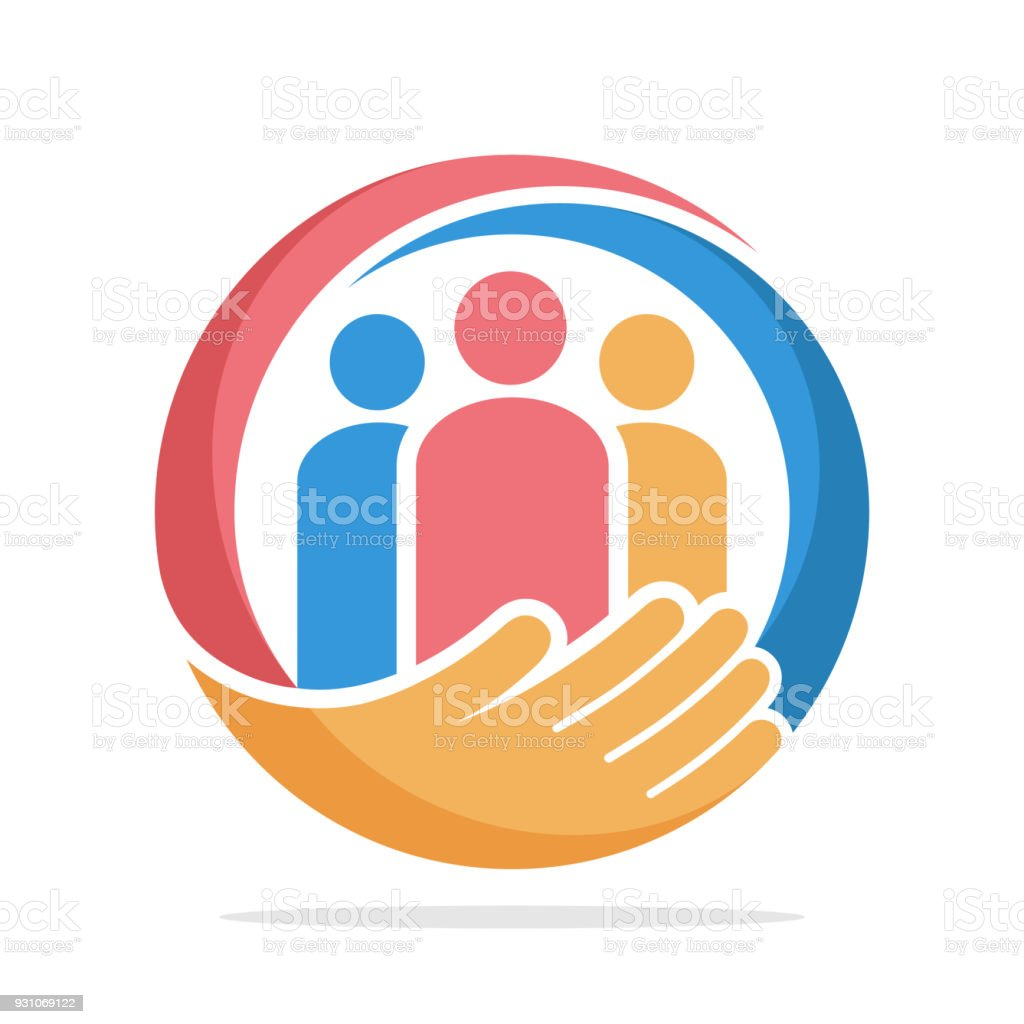 icon  with the concept of family care, care about humanity