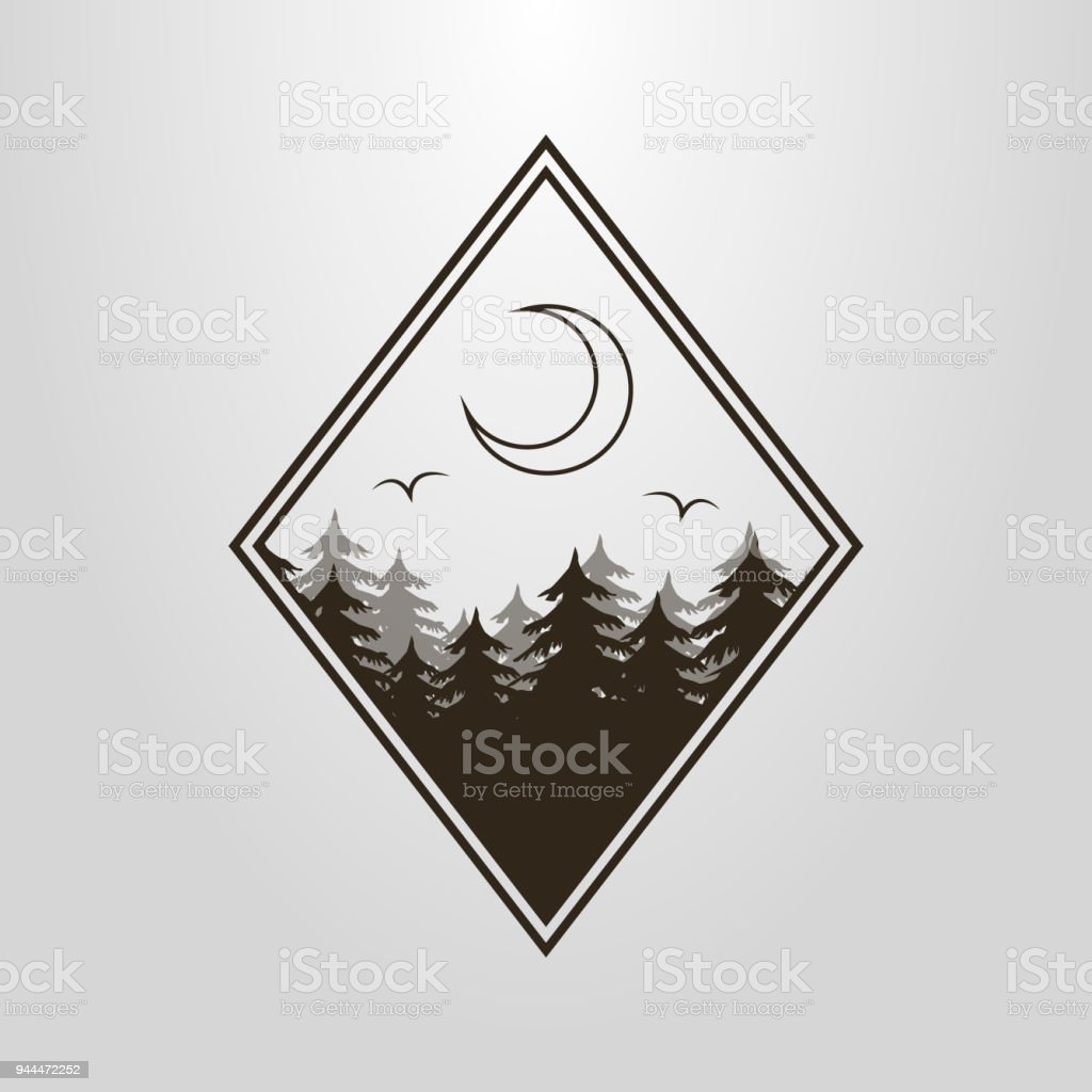 Icon With The Forest And The Moon In The Diamond Frame Stock Vector ...