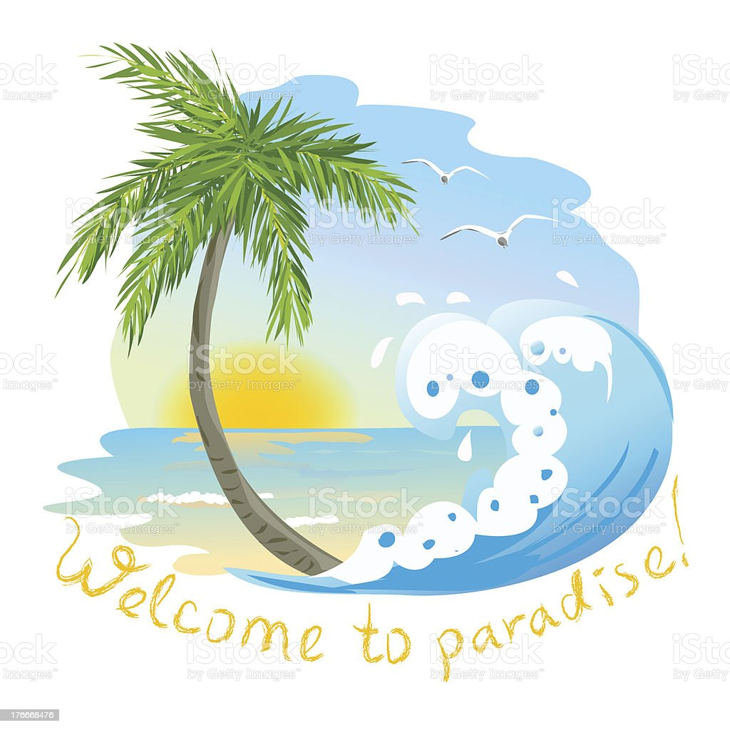 icon with the sea and palm tree royalty-free icon with the sea and palm tree stock vector art & more images of beach
