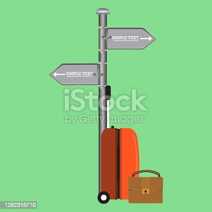 Icon with travel bag. Modern illustration. Cartoon vector illustration. Corporate document. Business success. Orange travel plastic suitcase with wheels and briefcase on white background vector illustration.
