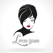 Beautiful vector illustration of a icon woman face with short hair style