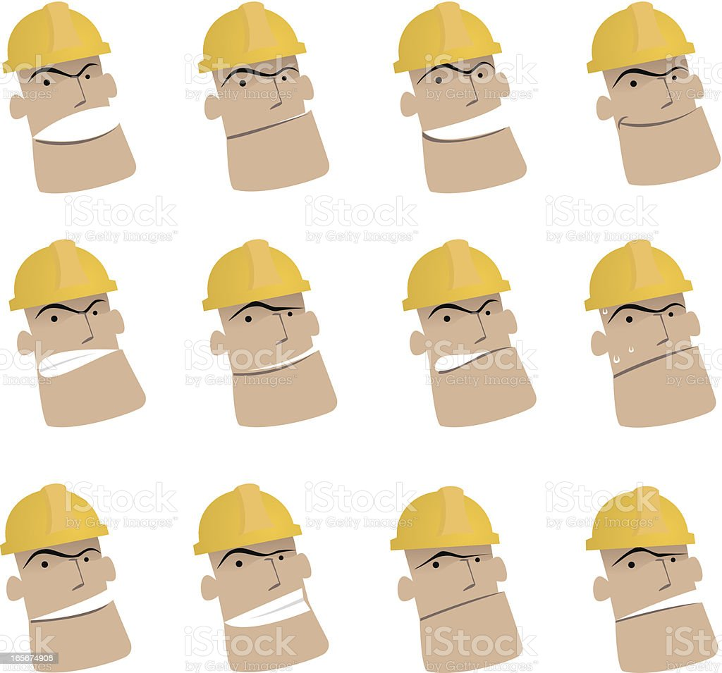 Icon ( Emoticons ) - Worker in various moods ( Mad, Smiling, Sadness ) royalty-free stock vector art