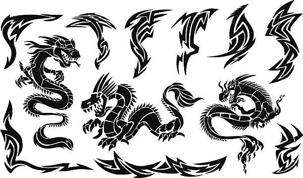 Iconic Dragons & Tribal Tattoo Designs vector art illustration