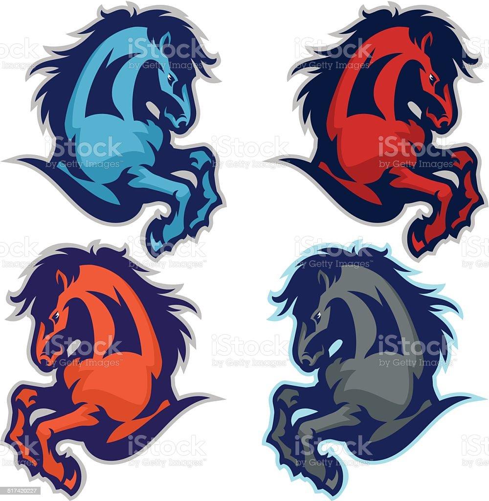 Iconic Horse Jump vector art illustration