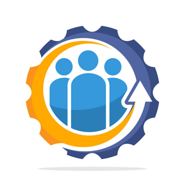 팀 작업의 개념을 상징적인 아이콘 - 개발 stock illustrations