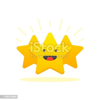 istock Iconic illustration of satisfaction level. Customer review give star. Positive feedback concept. Minimal flat design. Vector illustration. 1136040660