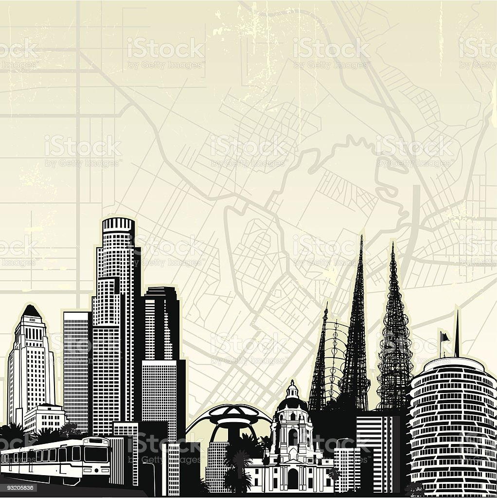 Iconic Los Angeles vector art illustration