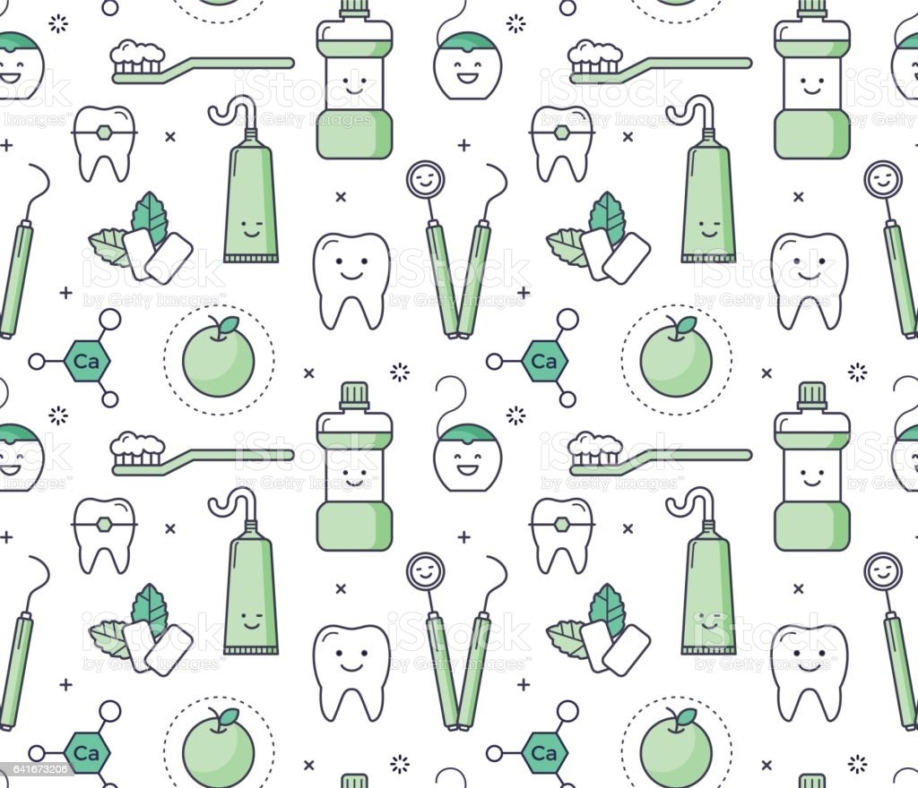 Iconic seamless Pattern about dentistry for kids vector art illustration