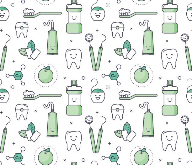 iconic seamless pattern about dentistry for kids - dentist stock illustrations, clip art, cartoons, & icons