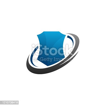 istock Iconic secure shield logo template, Strong Shield logo designs vector 1210736418