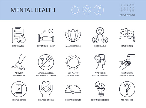Icons 15 top tips for good mental health. Editable stroke. Get enough sleep eating well. Avoid alcohol, smoking manage stress. Activity and exercise sociability taking care of your body digital detox.