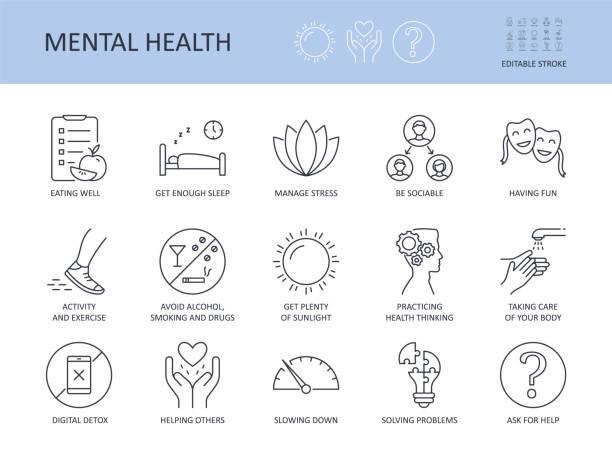 아이콘 15 좋은 정신 건강을위한 최고의 팁. 편집 가능한 스트로크. 충분한 수면을 잘 먹습니다. 알코올을 피하고 흡연은 스트레스를 관리합니다. 활동 과 운동 사교성 당신의 몸 디지털 해독을 � - wellness stock illustrations