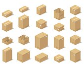 Icons 3d boxes, realistic style of vector graphics.