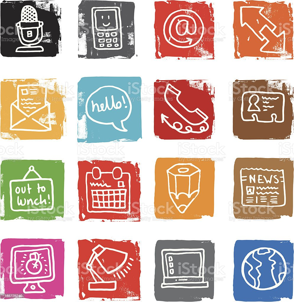 Icons about communication and office stuff royalty-free stock vector art