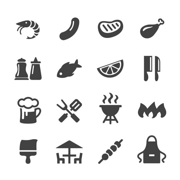 BBQ Icons - Acme Series barbecue, food, cooking apron stock illustrations