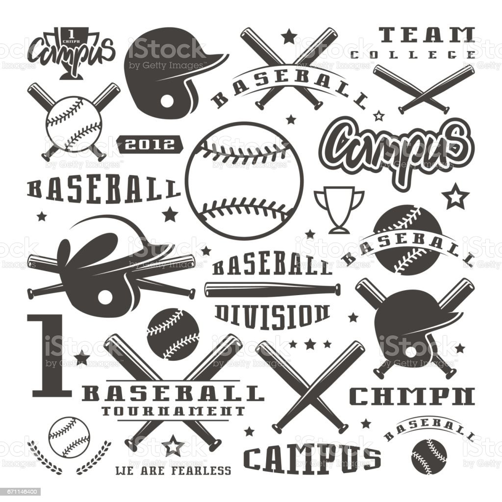 Icons and badges set of baseball team vector art illustration
