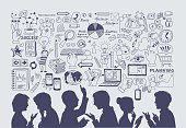Business concept. Hand drawn vector illustration. silhouettes of people on a background of business icons.