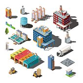 Icons and compositions of industrial subjects, isolated constructions, buildings isometric view, 3D. Vector set of industry