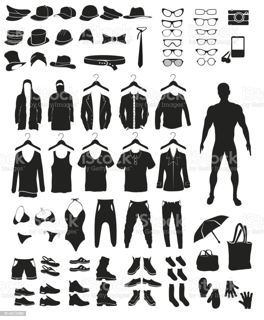 icons and items of clothing silhouettes accessories vector art illustration