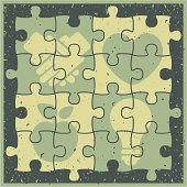 vector jigsaw puzzle consisting of 4 icons with grunge effect.