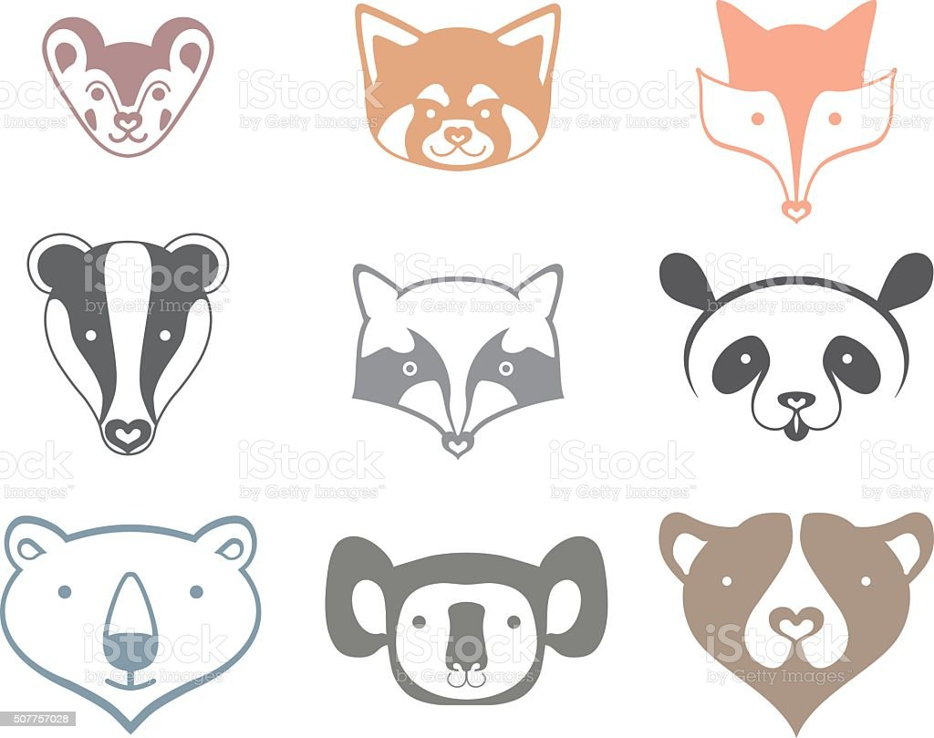 Icons animals head. vector art illustration
