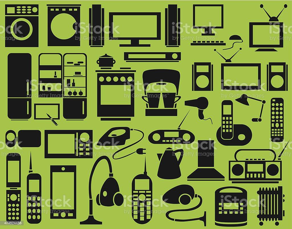 Icons Appliances vector art illustration