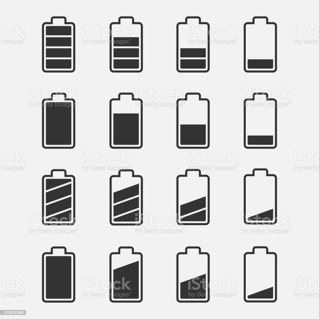 Icons battery charge level vector set vector art illustration