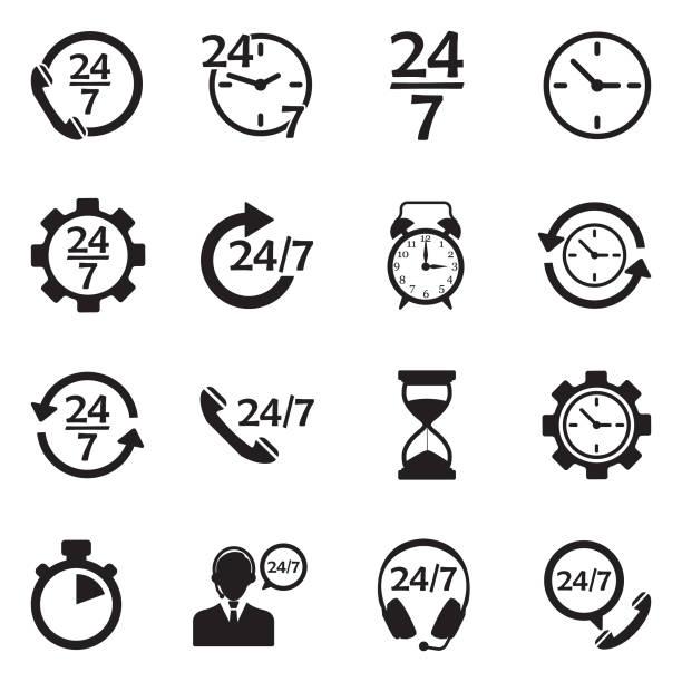 ilustraciones, imágenes clip art, dibujos animados e iconos de stock de iconos de 24/7. diseño plano negro. ilustración de vector. - trabajar hasta tarde