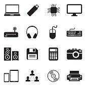 IT Icons. Black Flat Design. Vector Illustration.