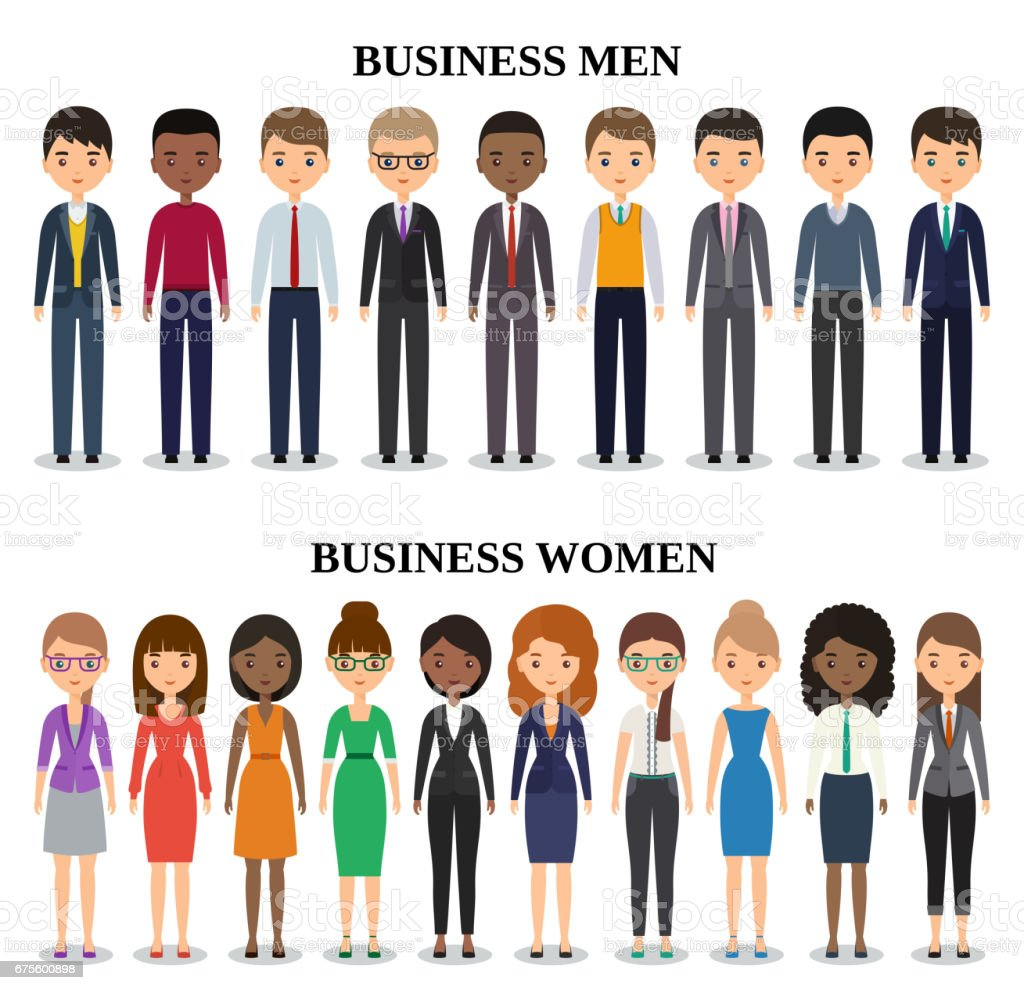 Icons business people flat silhouettes. Vector illustration. vector art illustration