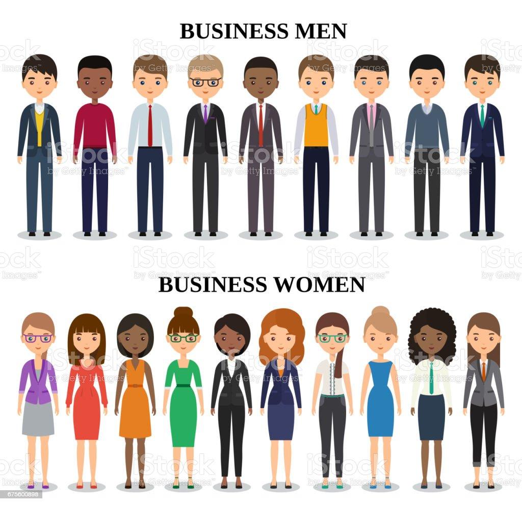Siluetas planas de iconos negocios personas. Ilustración de vector. - ilustración de arte vectorial