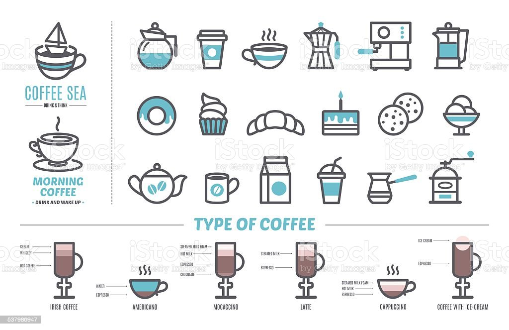 Symbole Fur Kaffee Und Kuchen Und Susswaren Stock Vektor Art Und Mehr