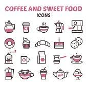 Icons Coffee and Sweet food