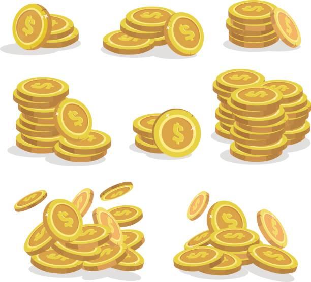 ikonen-münzen für das spiel-interface. satz von cartoon-münze für apps. vektor-illustration. - geldmünze stock-grafiken, -clipart, -cartoons und -symbole